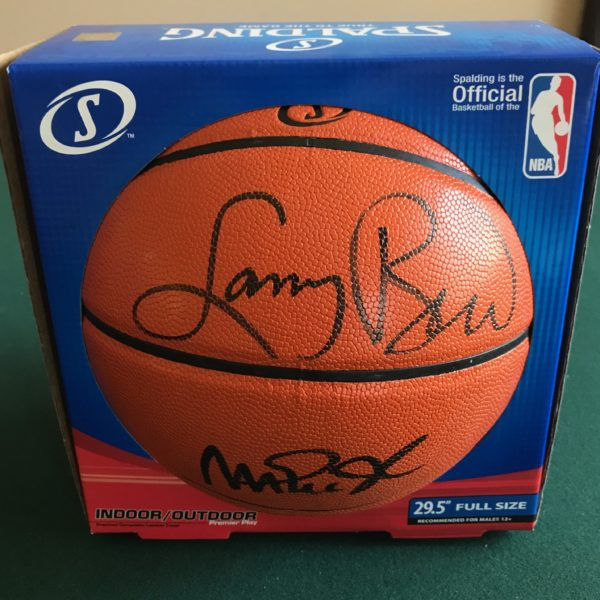online store b1ba6 4afb6 Larry Bird & Magic Johnson Dual Signed Basketball SSG Certified