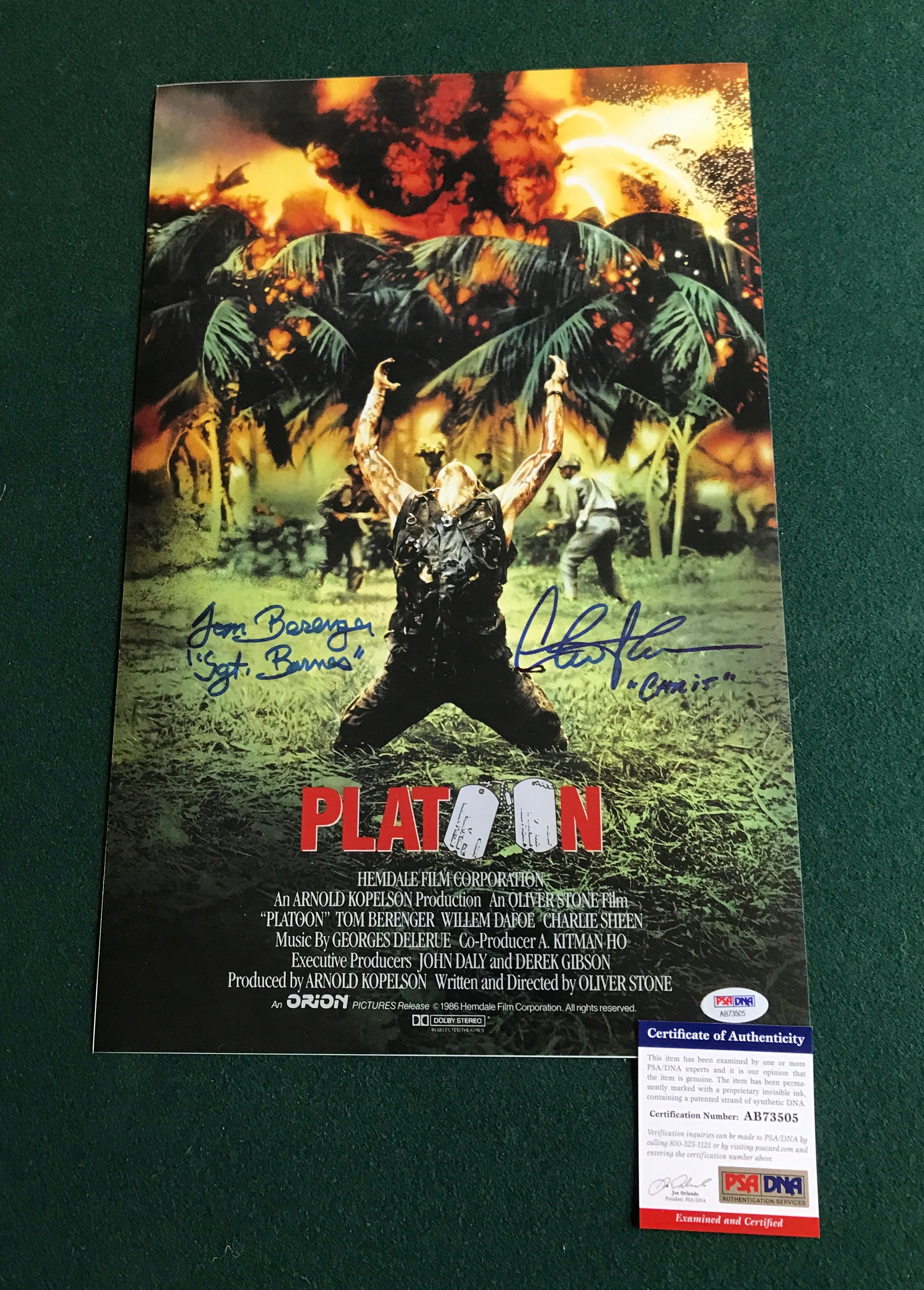 Dual Signed Platoon Movie Poster Psa Certified Superstar Greetings