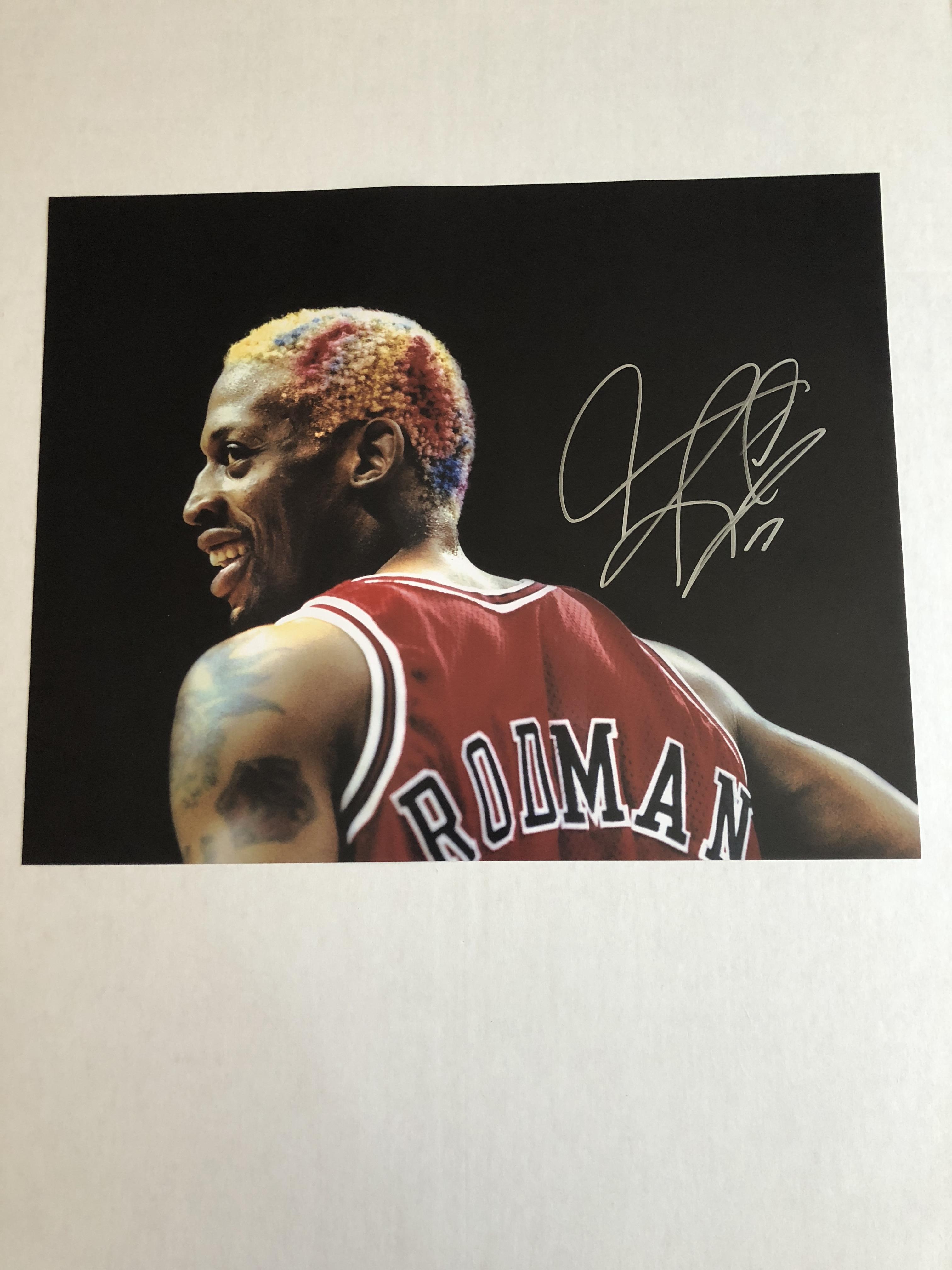 online retailer 667eb ac801 Autographed Dennis Rodman Photo